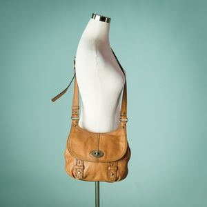 Fossil Brown Pebbled Leather Crossbody Bag
